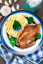 Pineapple grilled pork chop Royalty Free Stock Photo