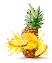 Pineapple juice burst Royalty Free Stock Photo