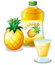 Pineapple juice drink illustration of the on a white background Royalty Free Stock Photo