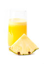 Pineapple juice glass isolated white Royalty Free Stock Image