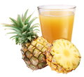 Pineapple juice with ripe pineapple Royalty Free Stock Photo