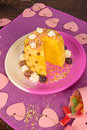 Pineapple kid dessert with a colorful decoration for kids Royalty Free Stock Photography