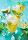 Pineapple lemonade with lemon lime and mint Royalty Free Stock Images