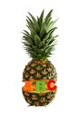 Pineapple with letters abc isolated on white Stock Images