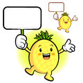 The pineapple mascot holding a board fruit character design ser series Royalty Free Stock Image