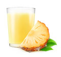 Pineapple milkshake glass of isolated on white background with clipping path Royalty Free Stock Photo