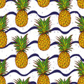 Pineapple and navy waves seamless vector print hand drawn Royalty Free Stock Image
