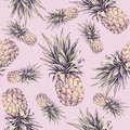 Pineapple on a pink background. Watercolor colourful illustration. Tropical fruit. Seamless pattern. Summer print Royalty Free Stock Photo