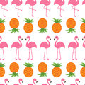 Pineapple Pink flamingo icon set. Seamless Pattern Wrapping paper, textile template.