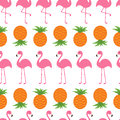Pineapple Pink flamingo set. Seamless Pattern Wrapping paper, textile template. Exotic tropical bird. Zoo animal kids collection.