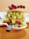 Pineapple and redcurrant mille-feuille Stock Photo