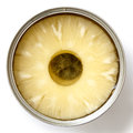Pineapple rings in a tin from above. Royalty Free Stock Photo