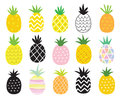 Pineapple Set Royalty Free Stock Photo