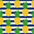 Pineapple on striped background. Cute vector pineapple pattern.