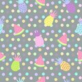 Pineapple and watermelon seamless patterns on dot background Royalty Free Stock Photo