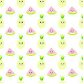Pineapple, watermeloncartoon seamless childlike  pattern Royalty Free Stock Photo