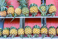 Pineapple on wooden stall all Stock Photos