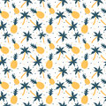 Pineapples and palm trees seamless pattern Royalty Free Stock Photo