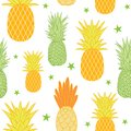 Pineapples and stars vector background seamless repeat pattern. Summer colorful tropical textile print. Royalty Free Stock Photo