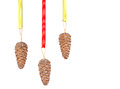 Pinecone ornaments hanging from ribbon Stock Images