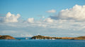Pinely island pineli and marina viewable from orient beach saint martin Stock Photo