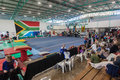 Pinetown gymnasium arena south africa nationals champs photo image overlooking the floor and apparatuses with crowds and Stock Photography
