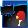 Ping pong ball and paddle on halftone ad Royalty Free Stock Photo