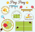 Ping Pong Lables Set. Vector Illustration Royalty Free Stock Photo