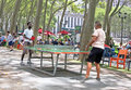 Ping Pong Game In The Park Royalty Free Stock Photo