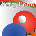 Ping pong racket and ball on gradient gray background Stock Images