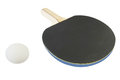 Ping pong racket and ball under the white background Royalty Free Stock Photography