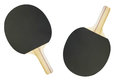 Ping pong racket and ball under the white background Stock Photos