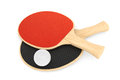 Ping pong rackets and ball on a white background Royalty Free Stock Images