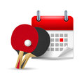 Ping pong rackets and calendar Royalty Free Stock Photos