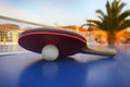 Ping pong table at luxury hotel Stock Images