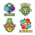 Ping pong table tennis club and tournament award cups vector icons set Royalty Free Stock Photo