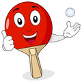 Ping pong or table tennis racket a cheerful cartoon red character with thumbs up and playing with a ball isolated on white Royalty Free Stock Photo