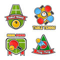 Ping pong table tennis vector icons set for sport club or tournament Royalty Free Stock Photo