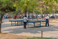 Ping-pong tables in a park Royalty Free Stock Images