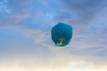 Ping si lantern bright blue paper flying in the sky Royalty Free Stock Photo