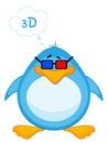 Pinguino del fumetto in 3d-glasses Fotografie Stock