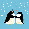 Pinguins do amor Fotos de Stock Royalty Free