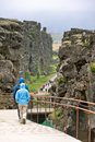 Pingvellir national park area located mid atlantic ridge where continents europe america drift apart causing earthquakes volcanic Stock Photo