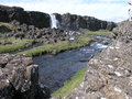 Pingvellir waterfall in central iceland Royalty Free Stock Photos