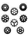 Pinions and gears set pinons for industry or another conceptual Royalty Free Stock Photo