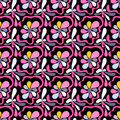 Pink abstract flowers on a black background seamless pattern Royalty Free Stock Photo