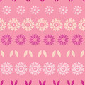 Pink abstract flowers stripes seamless pattern vector background Stock Photos