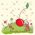 Pink ant eating cherry - everything grouped for ea Royalty Free Stock Photo
