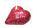 Pink aroma spa candle heart shape Stock Photos