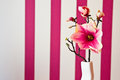 Pink artificial flower as room decoration Royalty Free Stock Photo